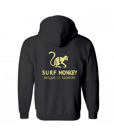 Surf Monkey -/- Sudadera Negra con Auriculares y micrófono Lavables - comercio justo