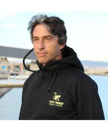 Surf Monkey Black Sweatshirt -/- Music Hoodie with Earphones and microphone - Basque country